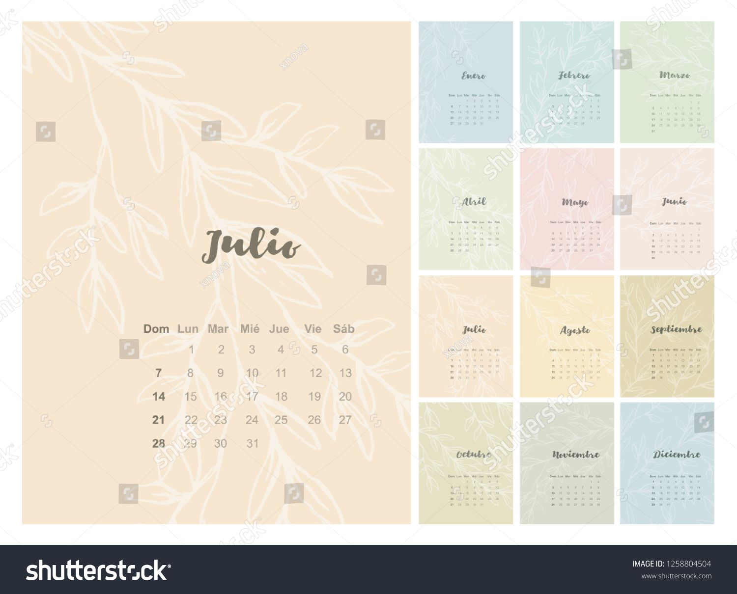 Various Background Colors Vector Spanish Calendar 2019 Year