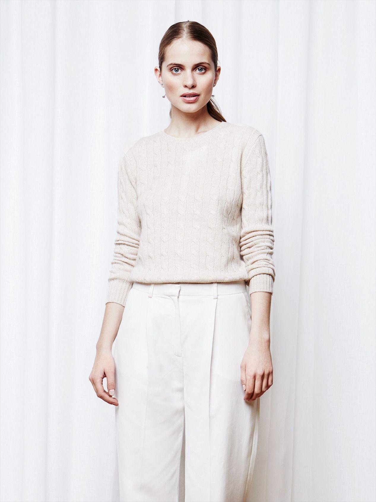 95d9e665a1c Soft Goat Women s Cable Knit O-Neck Beige