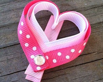 Cute valentine/'s party heart Pink Handmade Hair Bow clips x2