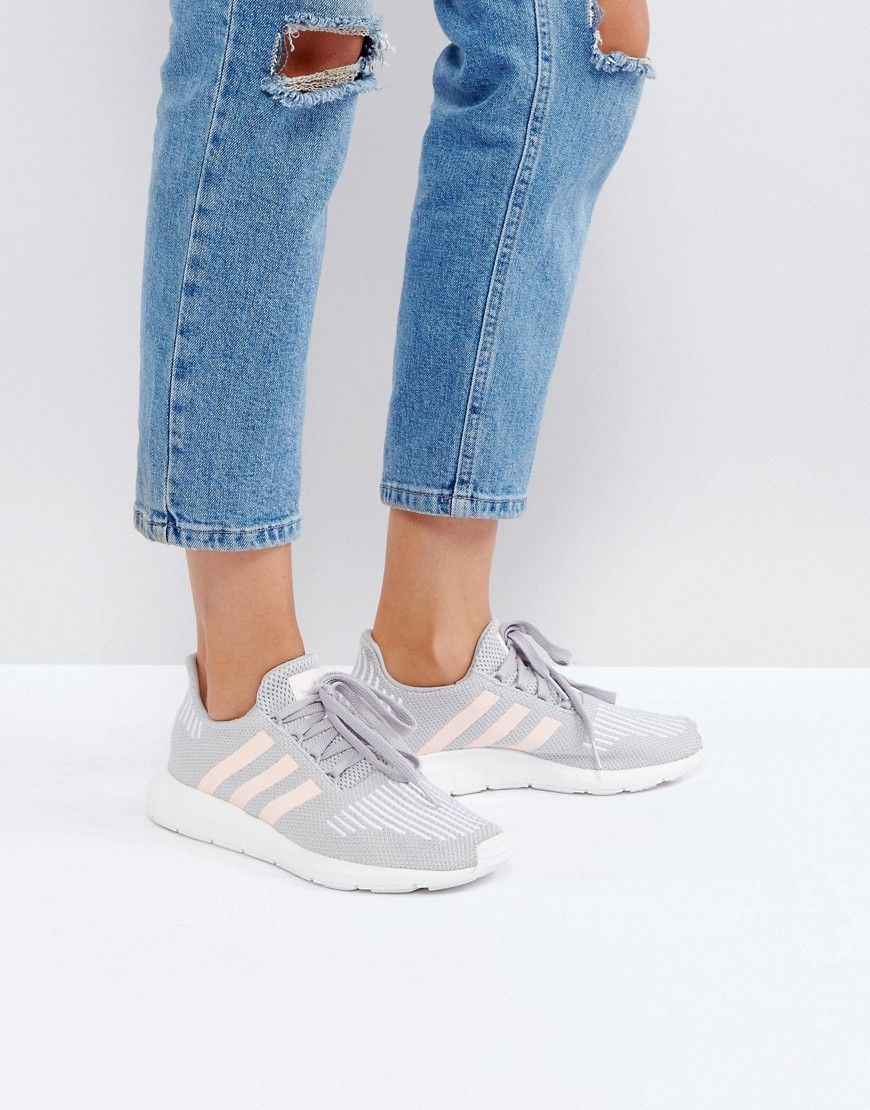 Buy it now. adidas Swift Run Trainers In Grey With Pink Stripe - Grey.  Trainers by adidas 5b644b53e3640