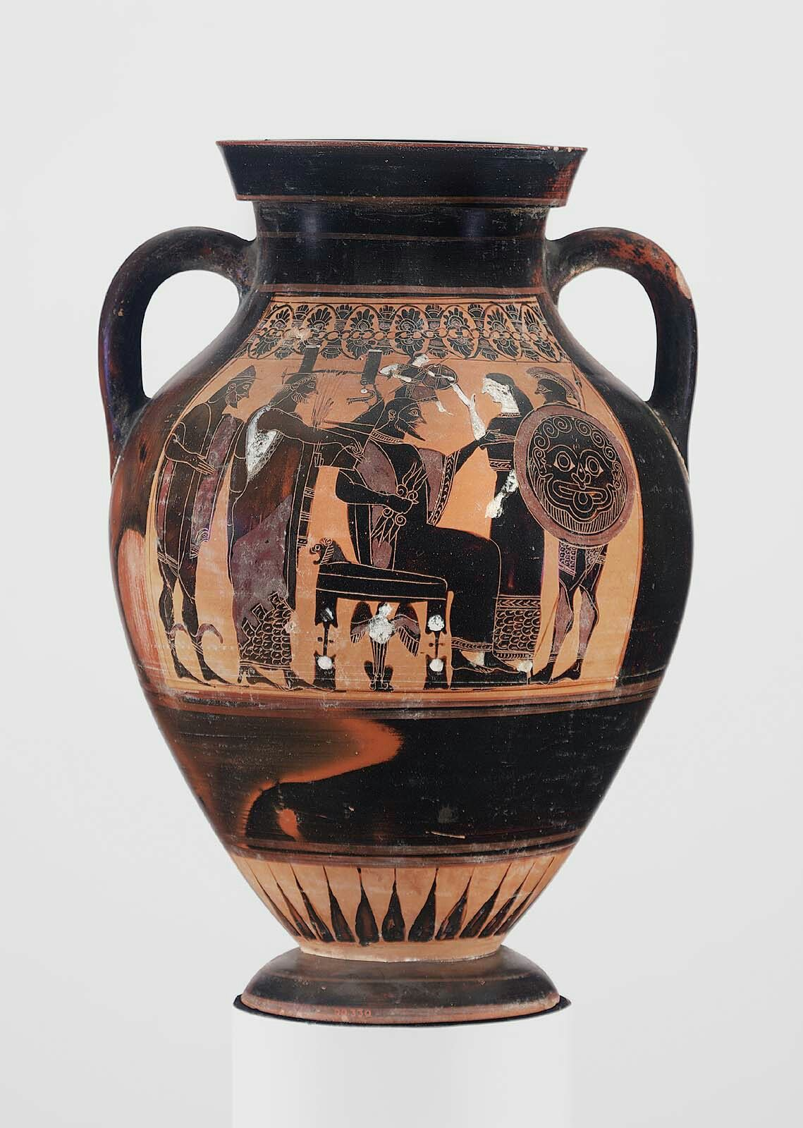 Ceramic Black Figure Two Handled Jar Amphora Depicting The Birth Of Athena