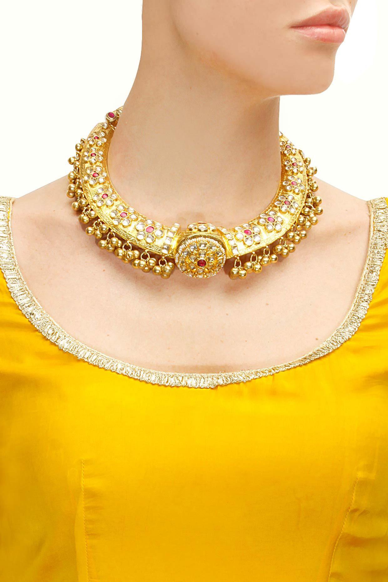 Gold plated royal kundan hasli by Raabta Shop now Jewelry