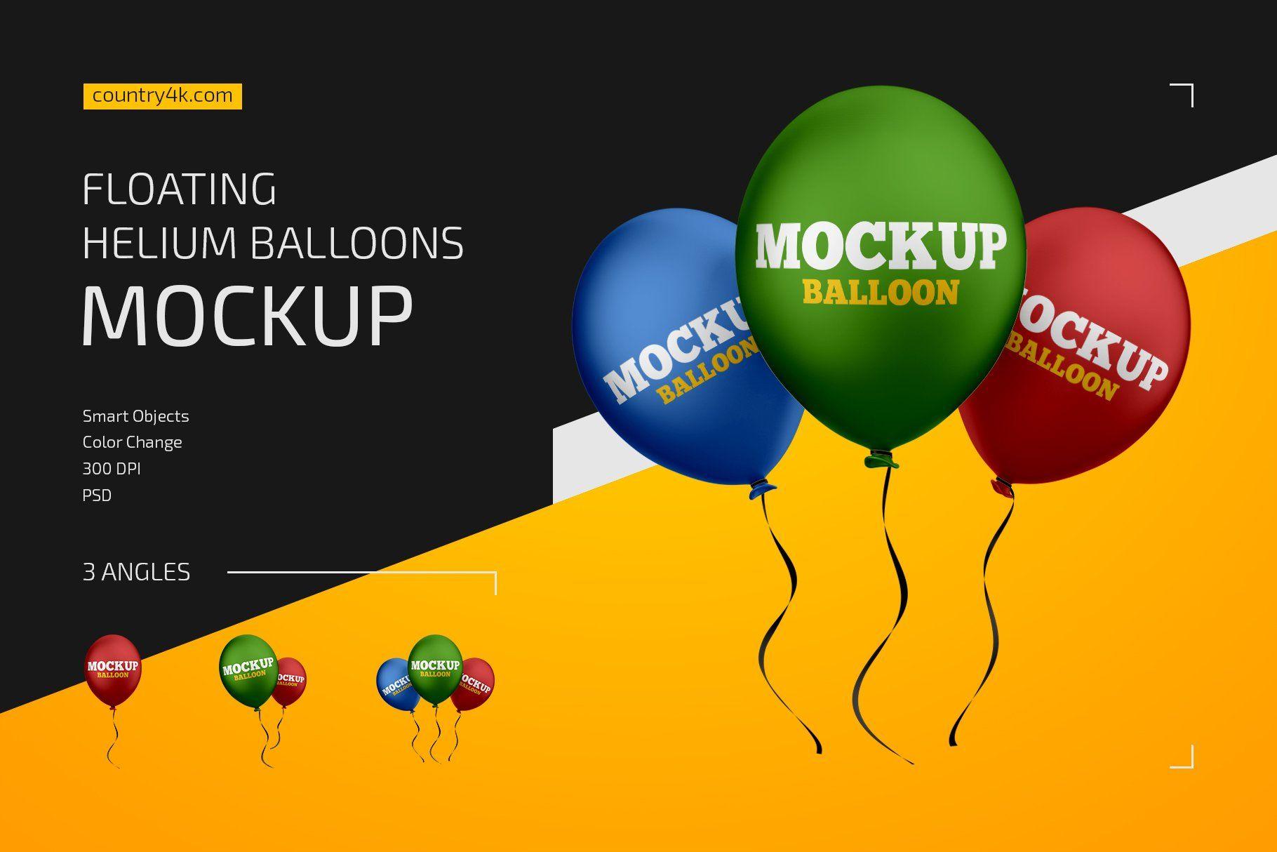 Floating Helium Balloons Mockup Set Helium Balloons Balloons Floating