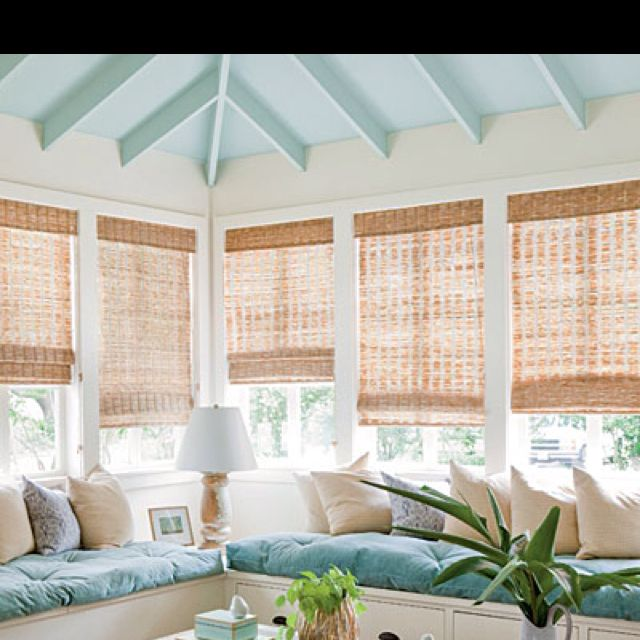 Sunroom - Love the blinds and the white walls light blue ...