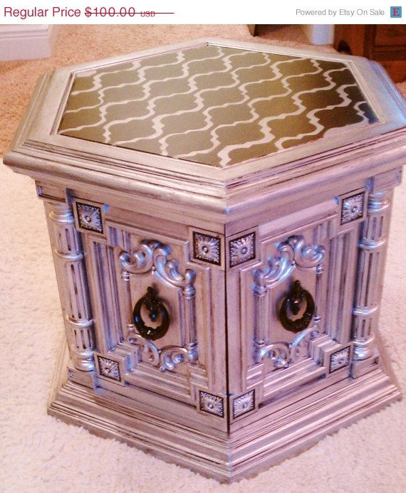 Hand Painted Custom Vintage Coffee Table End Table Chest Silver