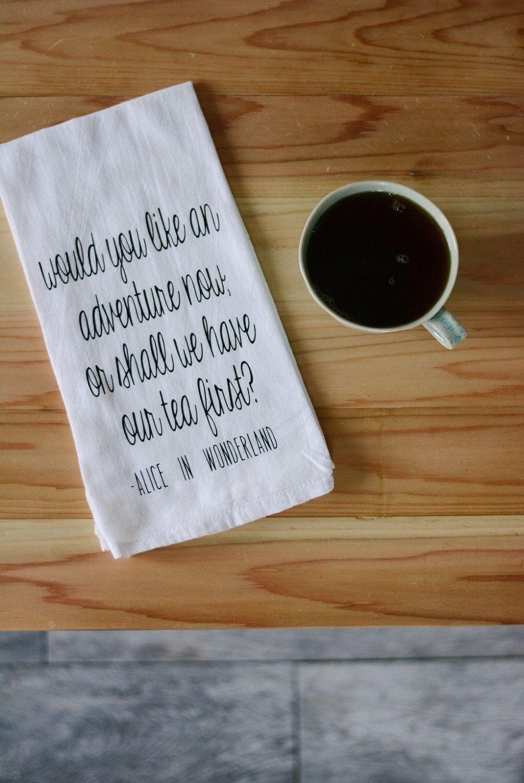 Alice In Wonderland, Tea Towel, Flour Sack Towel, Nerd Kitchen Art ...
