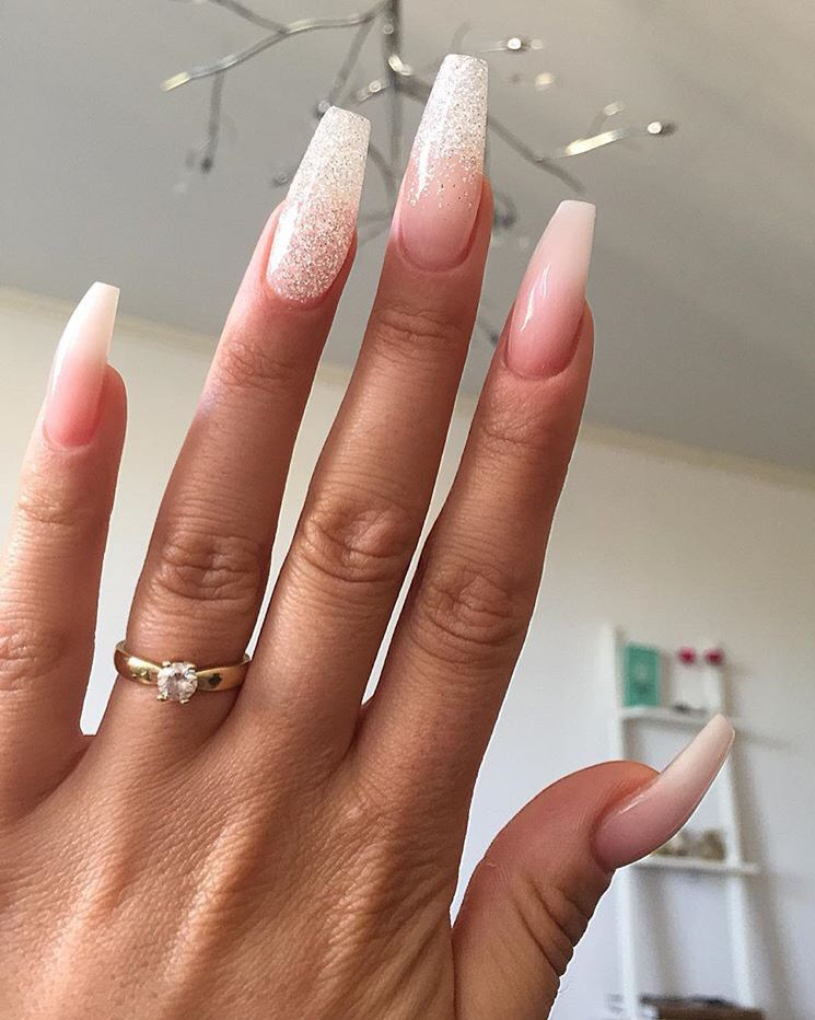 glitter, pink, white, and combined | Nails | Pinterest | Pink white ...
