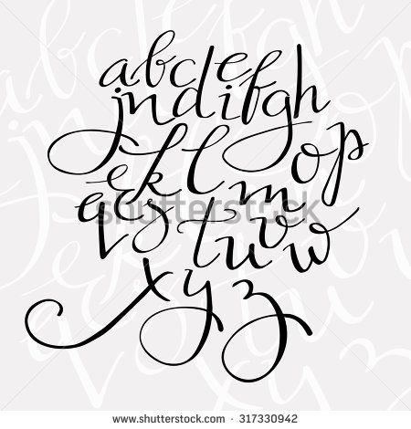 Pointed Pen Alphabet Flourish Script Vector Letters