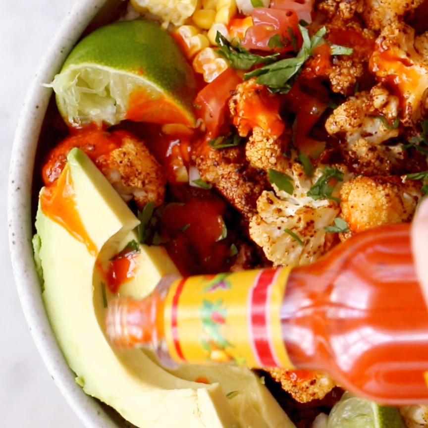 Roasted Cauliflower Burrito Bowls - Pinch of Yum