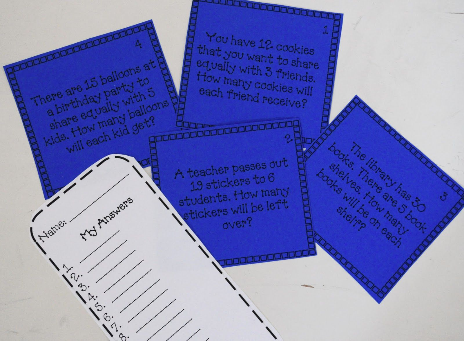 Free Division Scoot Game Word Problems With And Without