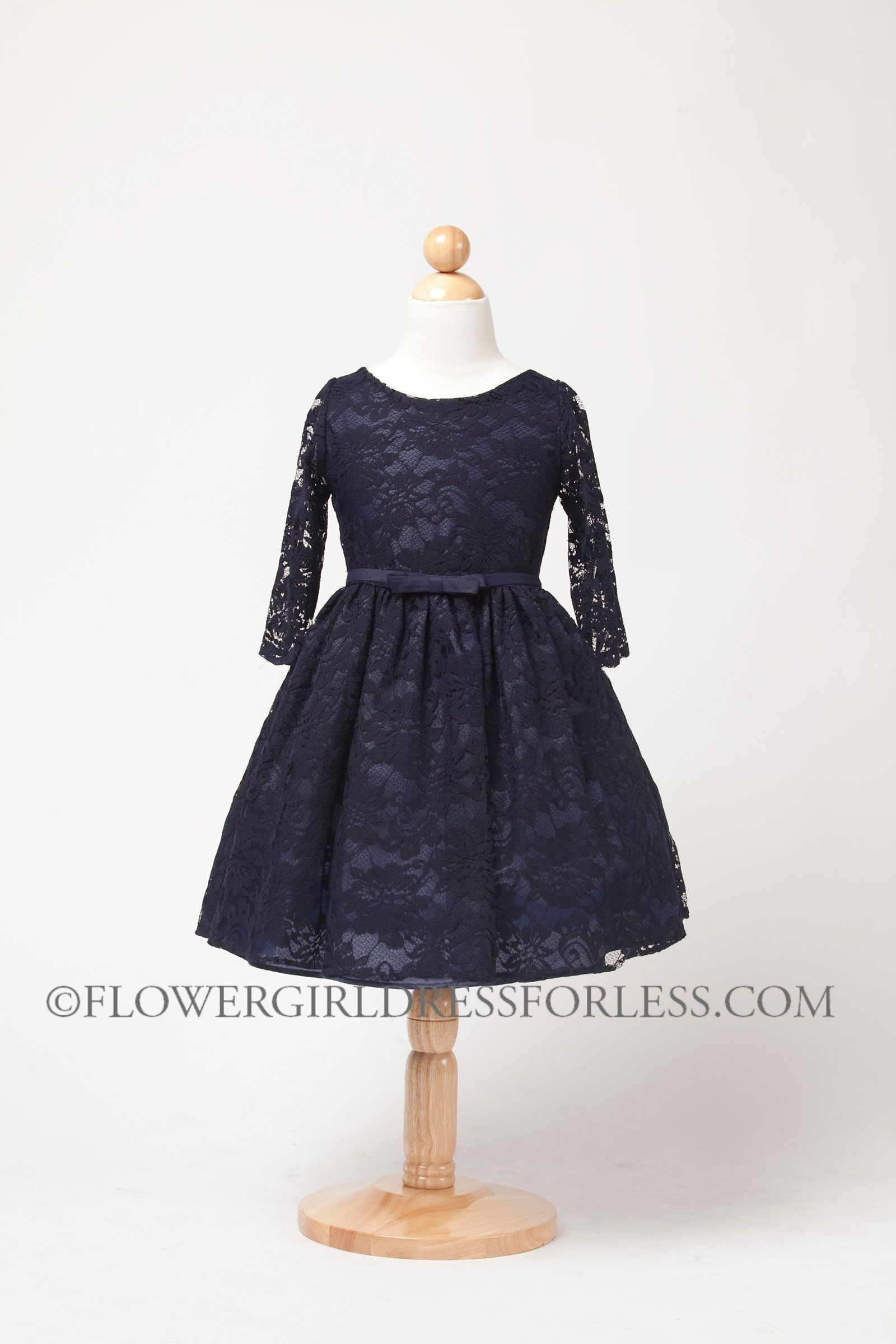 Navy lace jr bridesmaid dress skry girls dress style three