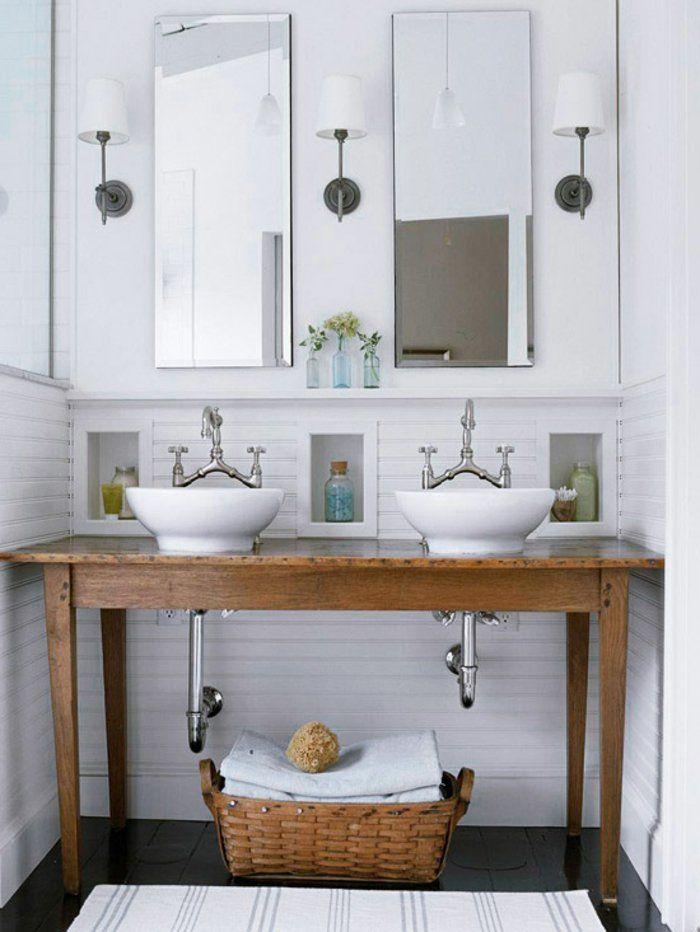 D corer la salle de bains avec un vier c ramique salle - Double evier salle de bain ...