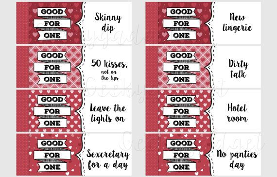 Naughty Coupons Book - 16 printable coupons for Boyfriend