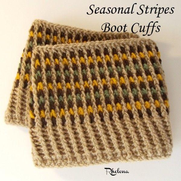 Seasonal Stripes Boot Cuffs Free Crochet Pattern Intermediate