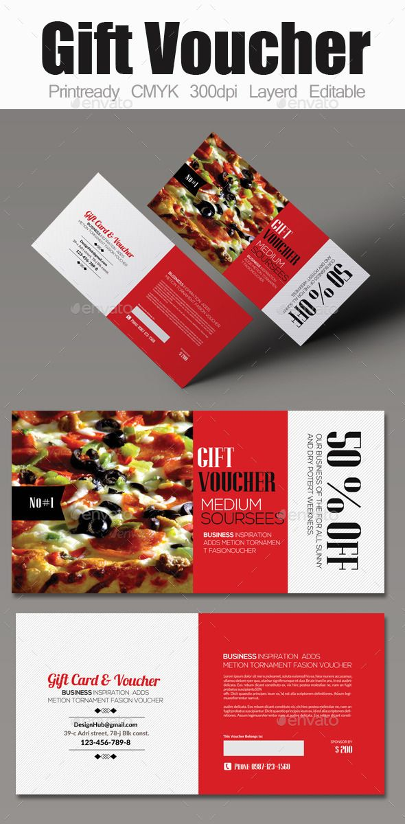 Food Gift Voucher Coupons, Print templates and Gift voucher design - coupon flyer template