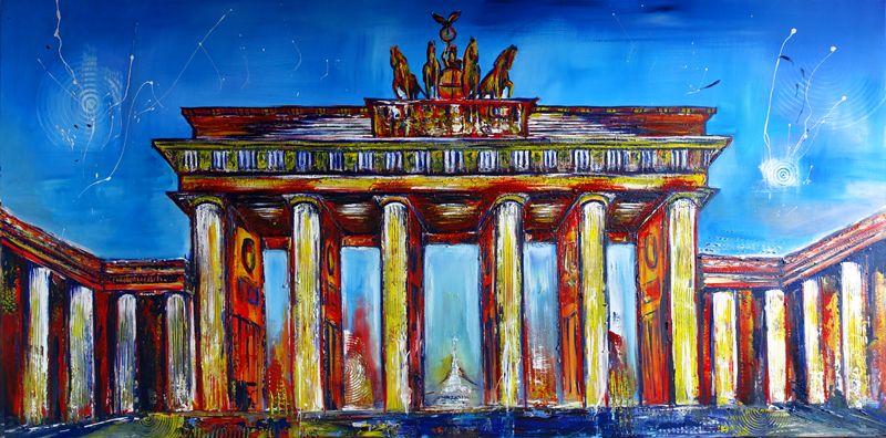 S 5 Wandbild Berlin Brandenburger Tor Abstrakt Handgemalt Stadtbilder Auf Leinwand Skyline Malerei Original Original Gemalde Skyline Bilder Skyline Malerei