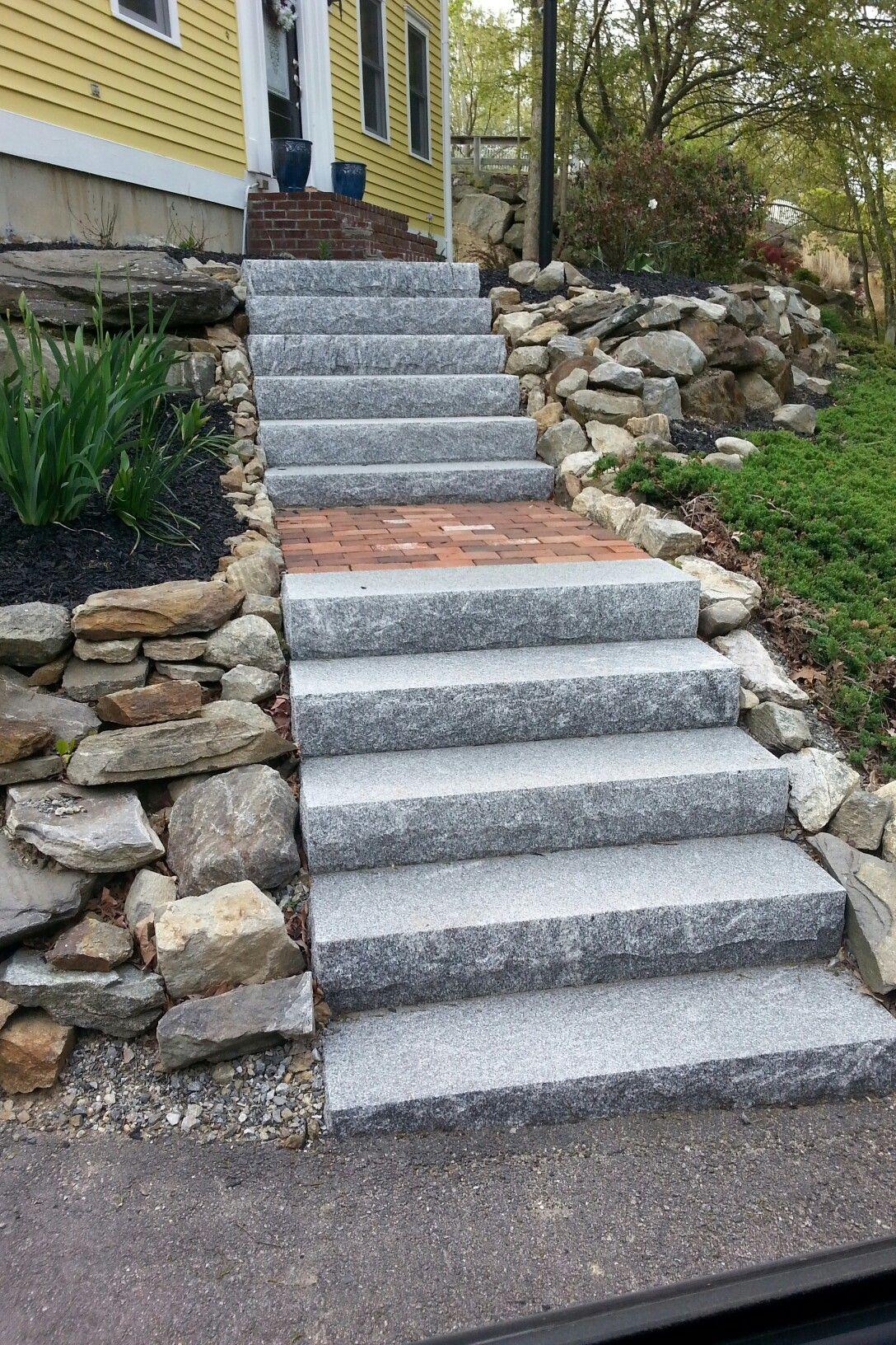 Salt Pepper Granite Steps W Red Brick Inlay Garden | Granite Stone Steps Outdoor