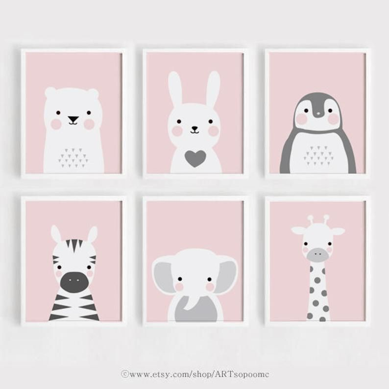 Pink Printable Nursery wall Art Set of 6 Poster Baby girl print Kids room decor Bear and Bunny Anima