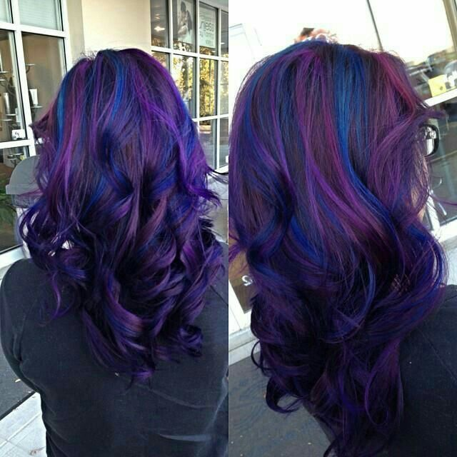 Purple Base With Blue Highlights Hair Styles Blue Purple Hair Hair Color Purple