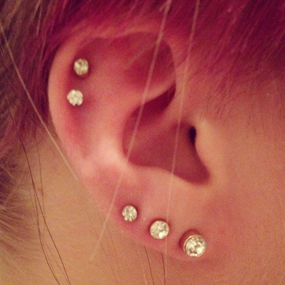 Pretty nose piercing  Triple earlobe and double cartilage piercing  Piercings and tattoos
