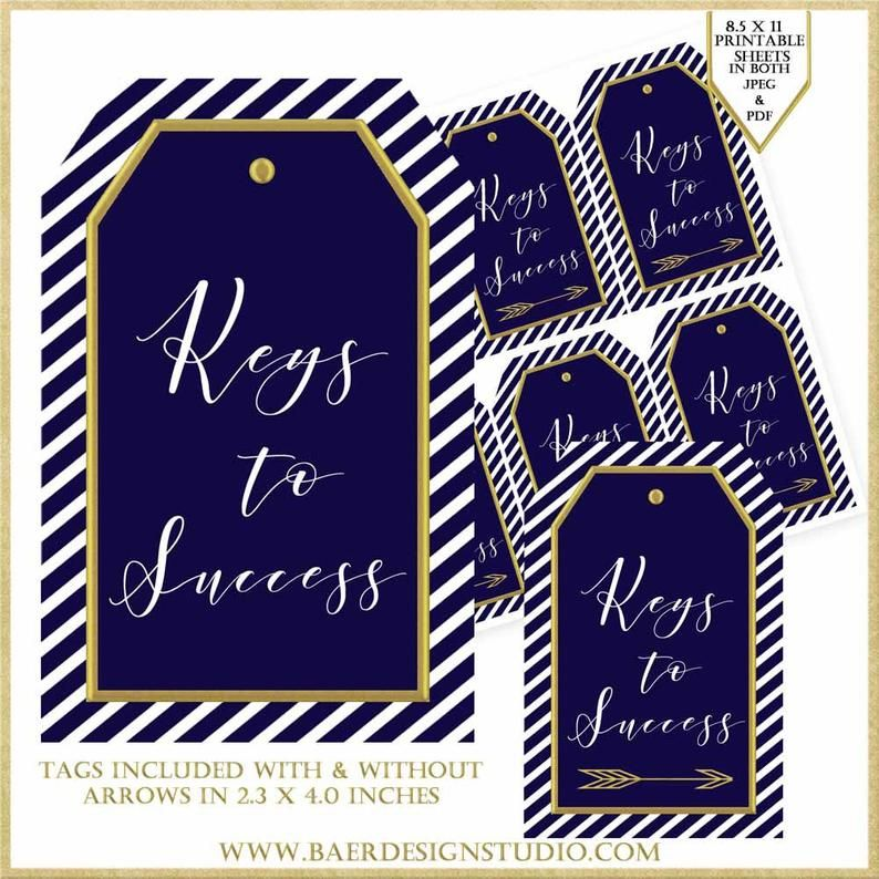 Navy blue and gold keys to success printable tags