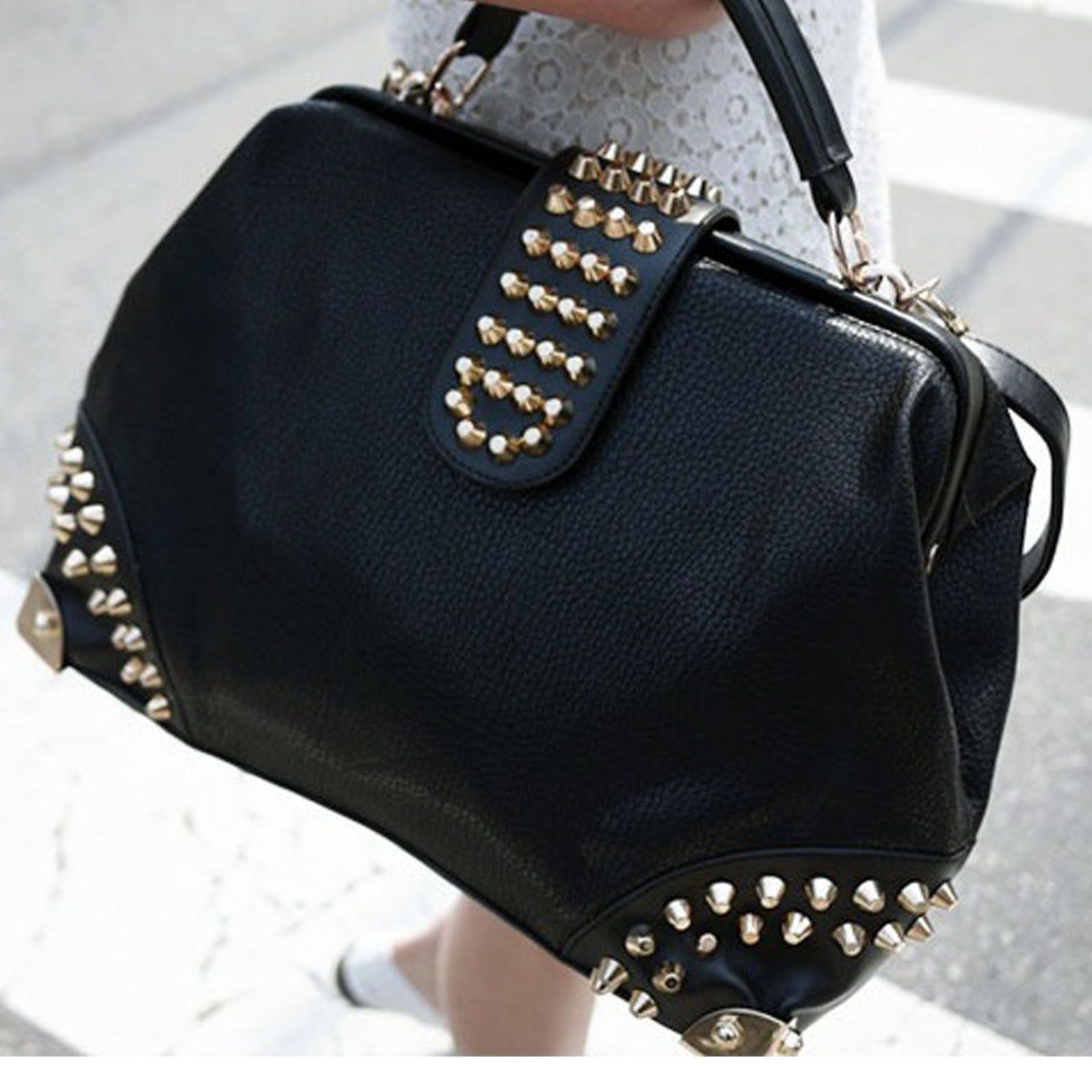 Women/'s Designer Handbags Ladies Stylish Celebrity Studded Clutch Purse