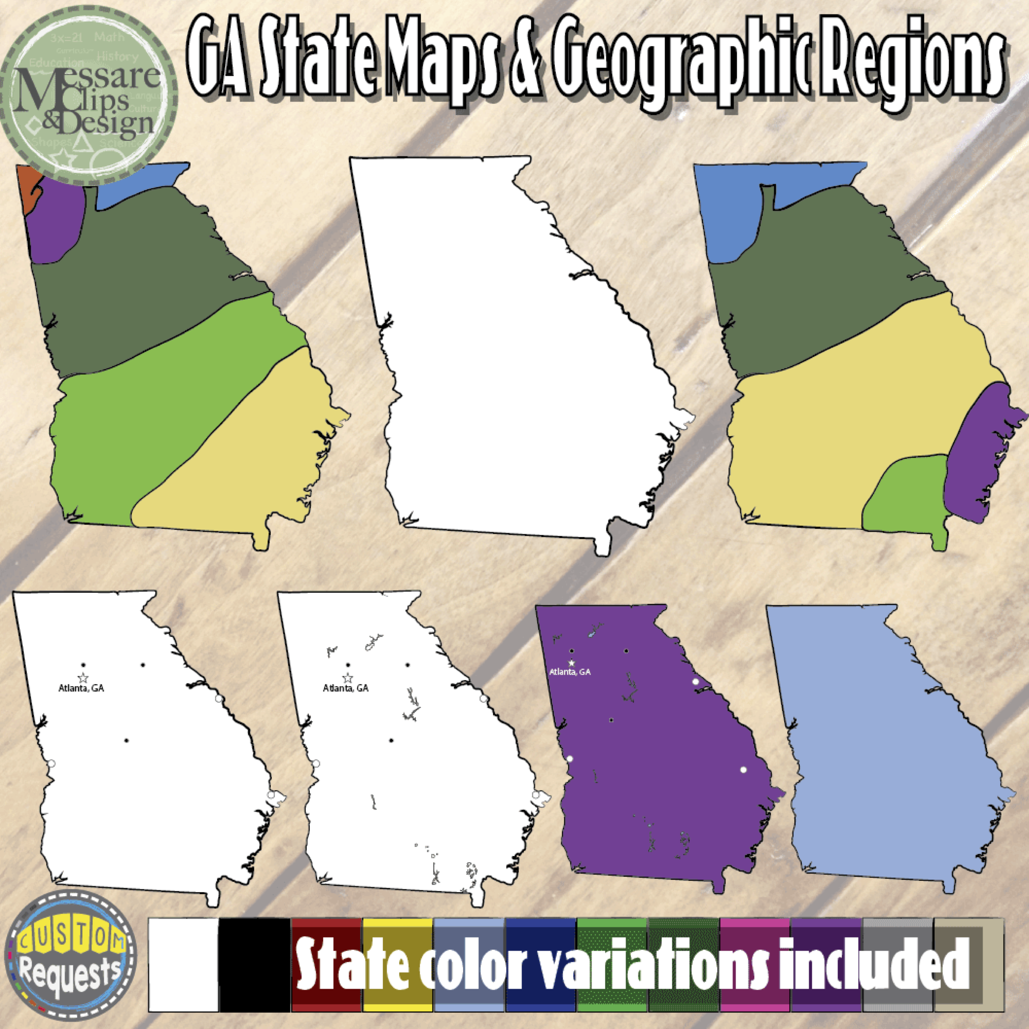 Usa georgia maps and geographic regions set messare clips and the regular georgia state map set with 26 high sciox Gallery