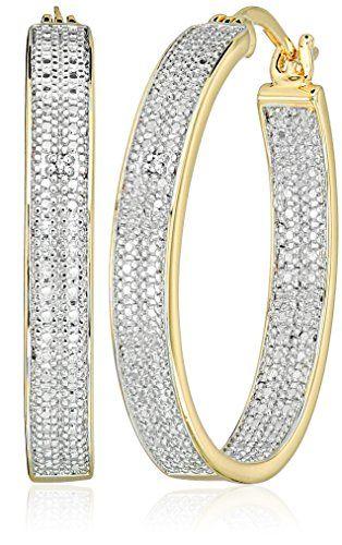 Fine Jewelry Diamond Accent White Diamond 10K Two Tone Gold 15mm Round Hoop Earrings wDQ1nPK