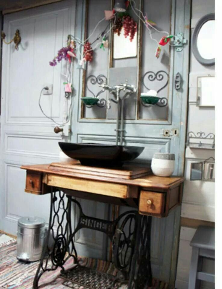 Singer handfat recycle and upcycle pinterest d cor for Idee deco sdb