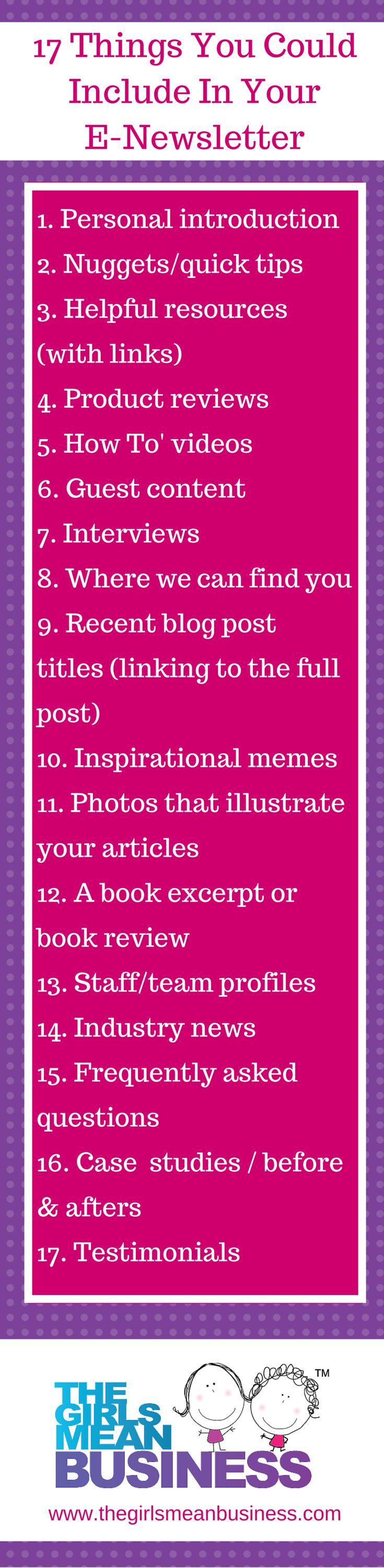 Do you get writer's block when you think about writing your e-newsletter? Does it feel like really HARD work? It doesn't have to be! Here are 17 things that you COULD include in your e-newsletters