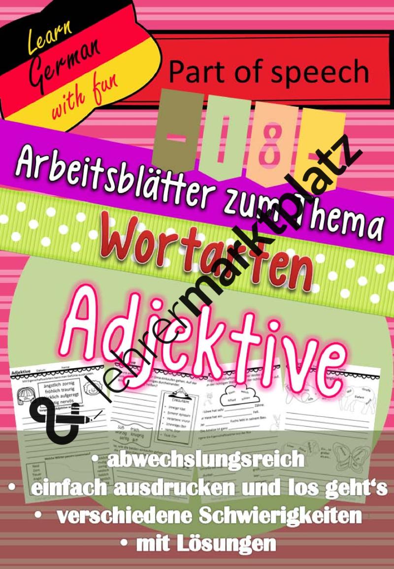 18 Arbeitsblätter zum Thema Wortarten: Adjektive – DaZ / DaF ...