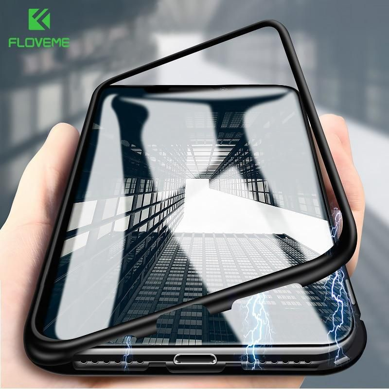 Floveme Magnetic Adsorption Flip Case For Iphone X 8 7 Plus Tempered Glass Back Cover For Iphone Xs Xr Xs Max Case Bumper Luxury Iphone Cases Iphone White Iphone Case