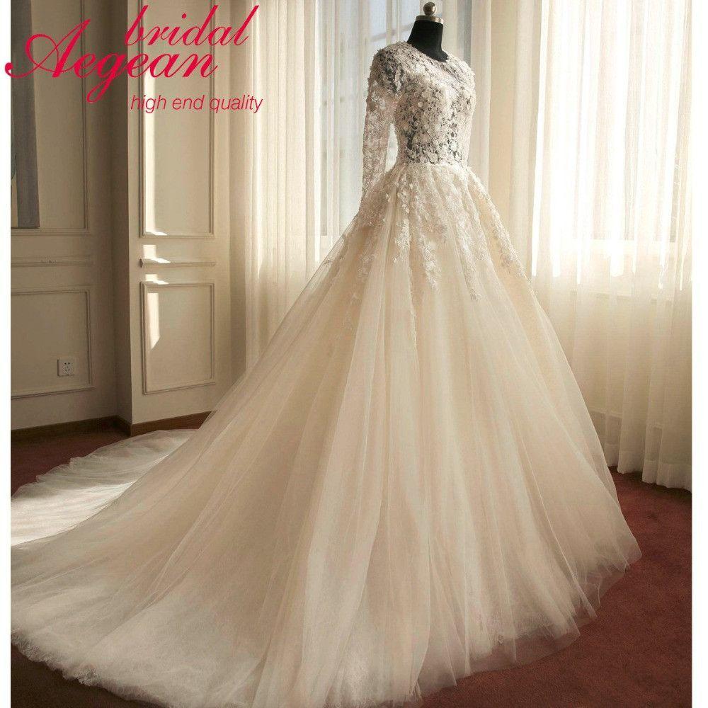 Long sleeve vestido de noiva lace wedding dresses plus size