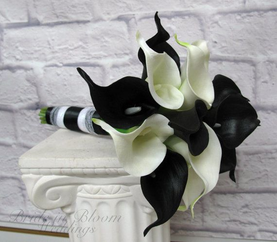 Calla Lily Wedding Bouquet Bridesmaid Bouquet Black White Real Touch Calla Lilies Wedding Bridesmaid Bouquets Black Calla Lily Calla Lily Bouquet Wedding