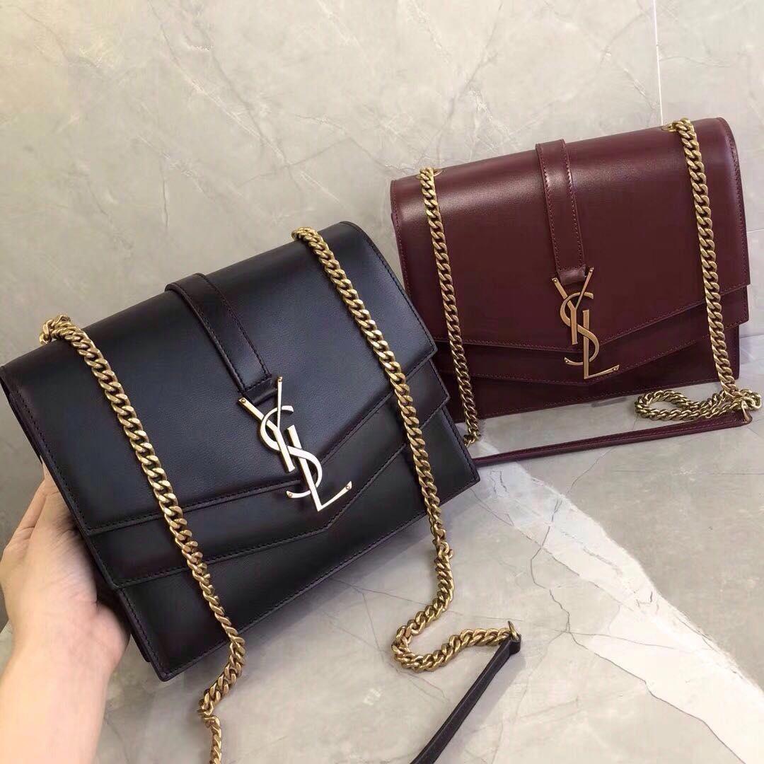 b5e857ed6762 Saint Laurent YSL Medium Sulpice chain bag in burgundy leather   replicahandbags