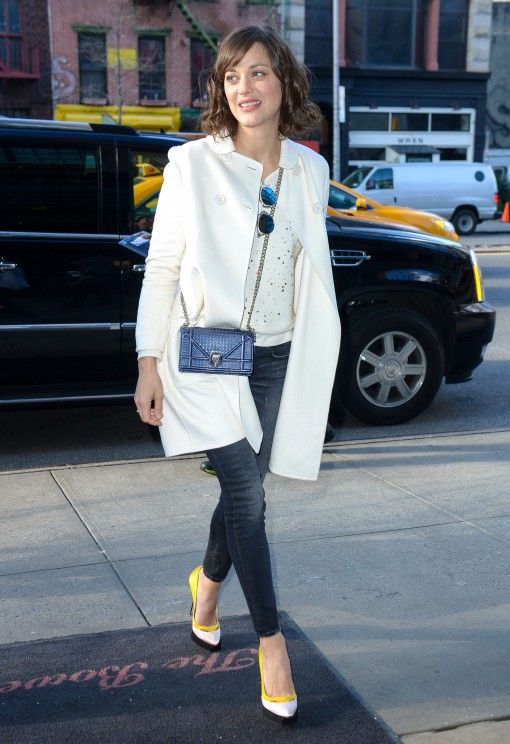 Yellow Banded Shoes With Winter White Top And Coat