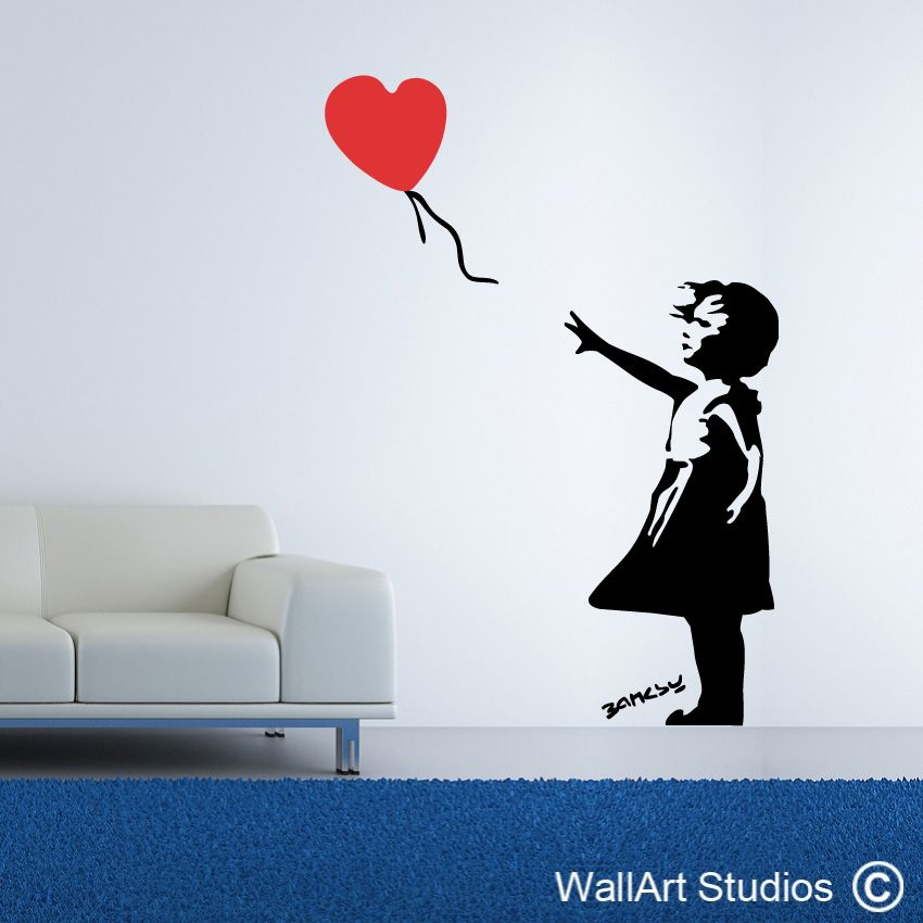 Heart Balloon Girl Wall Art Stickers And Vinyl Decals - Custom vinyl stickers south africa