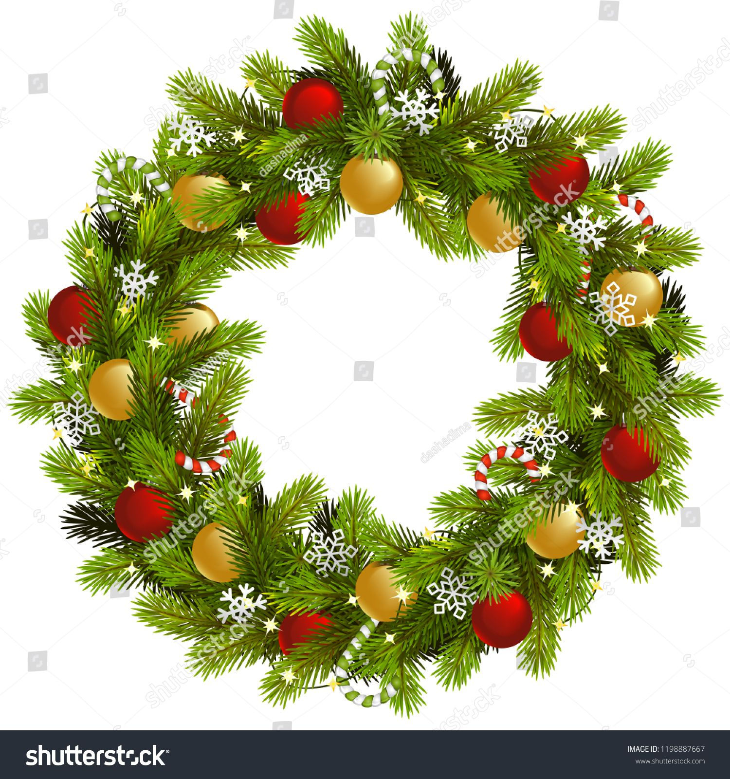 Vector Christmas Fir Wreath With Garland Isolated On White Background Fir Wreath Vector Christmas Christmas Vectors Christmas Tree With Gifts Gift Vector