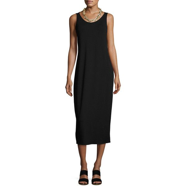 Eileen Fisher Jersey Scoop-Neck Midi Dress ($198) ❤ liked on Polyvore featuring dresses, black, scoop neck dress, scoop neckline dress, sleeveless jersey, eileen fisher dresses and no sleeve dress