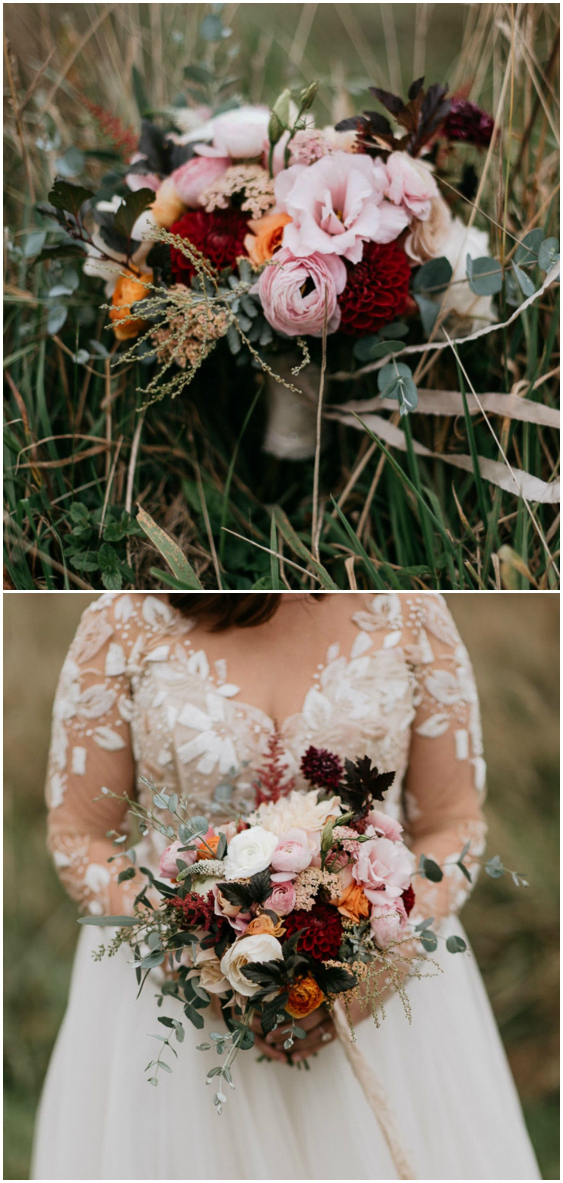 Romantic Wedding Bouquet Fall Wedding Pink And Red Florals
