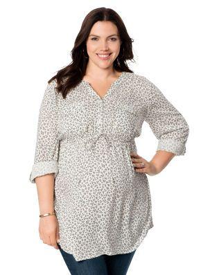 8238c93ada855 Motherhood Maternity Plus Size Convertible Sleeve Tie Front Maternity Tunic