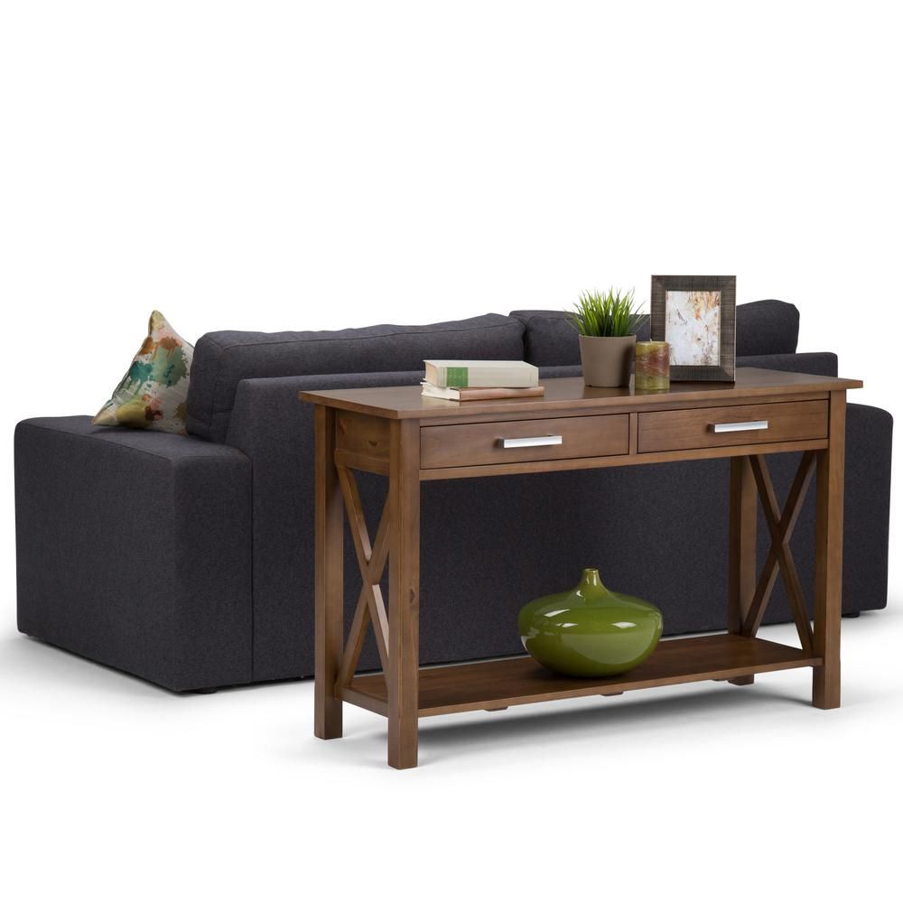 modern furniture kitchener simpli home kitchener solid wood 47 in wide contemporary console sofa table in medium saddle 1087