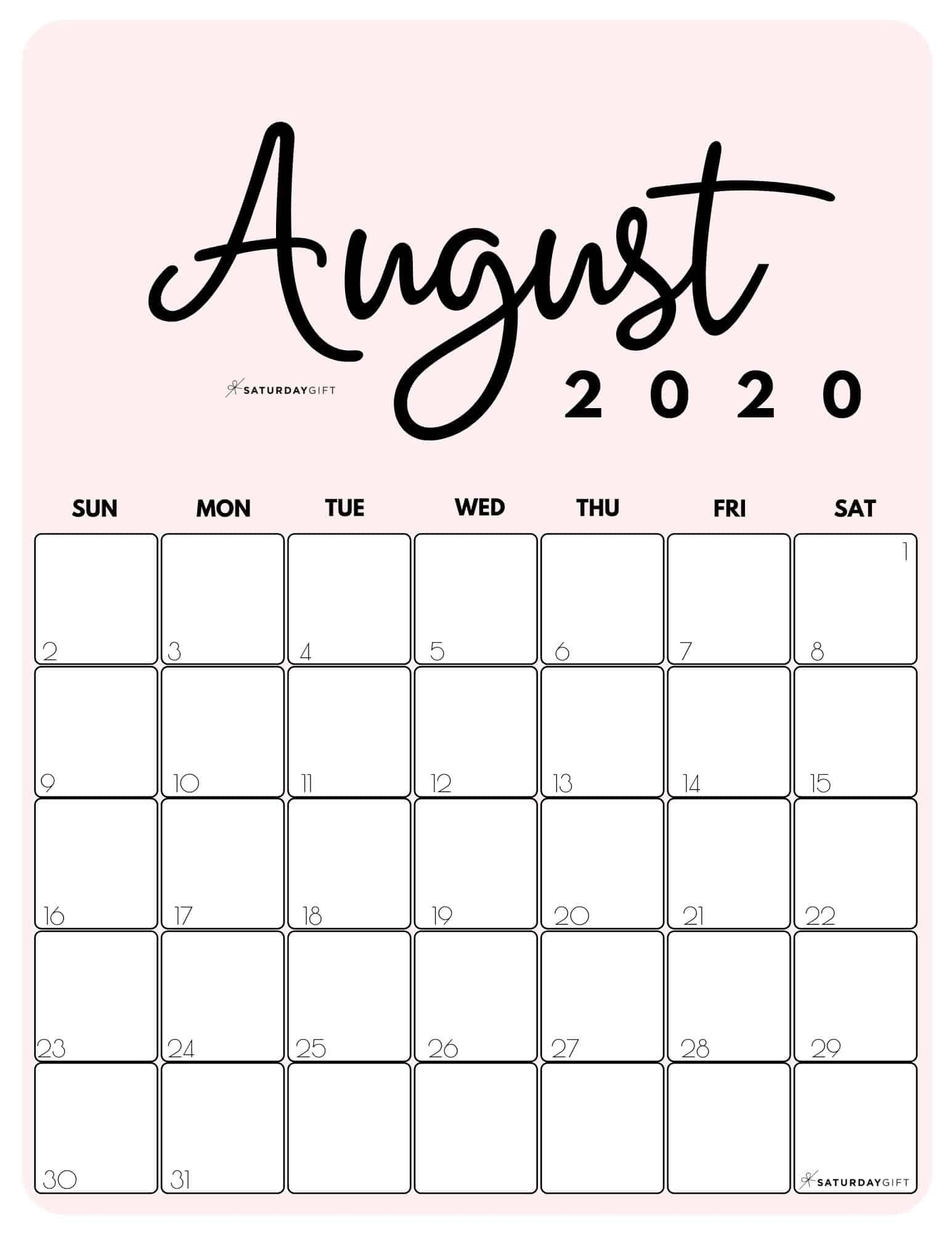 Cute Free Printable August 2021 Calendar Saturdaygift August Calendar Calendar Printables Print Calendar