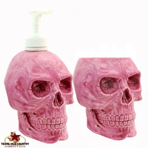 Ceramic Skull Soap Dispenser And Toothbrush Holder Set Bright Pink For Bath  Vanity Or Kitchen Dish