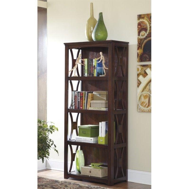 Lowest Price Online On All Ashley Devrik 4 Shelf Bookcase In Brown