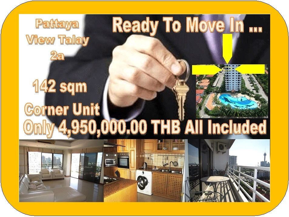 Pattaya View Talay 2a 142 sqm Corner Unit Resale, Thappraya Road, excessive parking, large swimming pool, 24 hour gated entry, CCTV, many small businesses. This unit: on floor 11, Jomtien side, 2 bedroom, sea views, fully furnished, on Ltd name, selling price 4,950,000.00 THB all in. Agents with clients welcome. Call 0800176100 or look at the details here: http://condoforsalethailand.net/view-talay-2a-142-sqm-corner-unit/