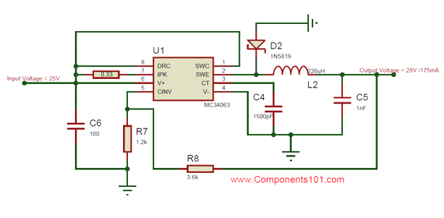 Mc34063 Buck Converter Circuit Diagram Circuit Diagram Converter Electronics Basics
