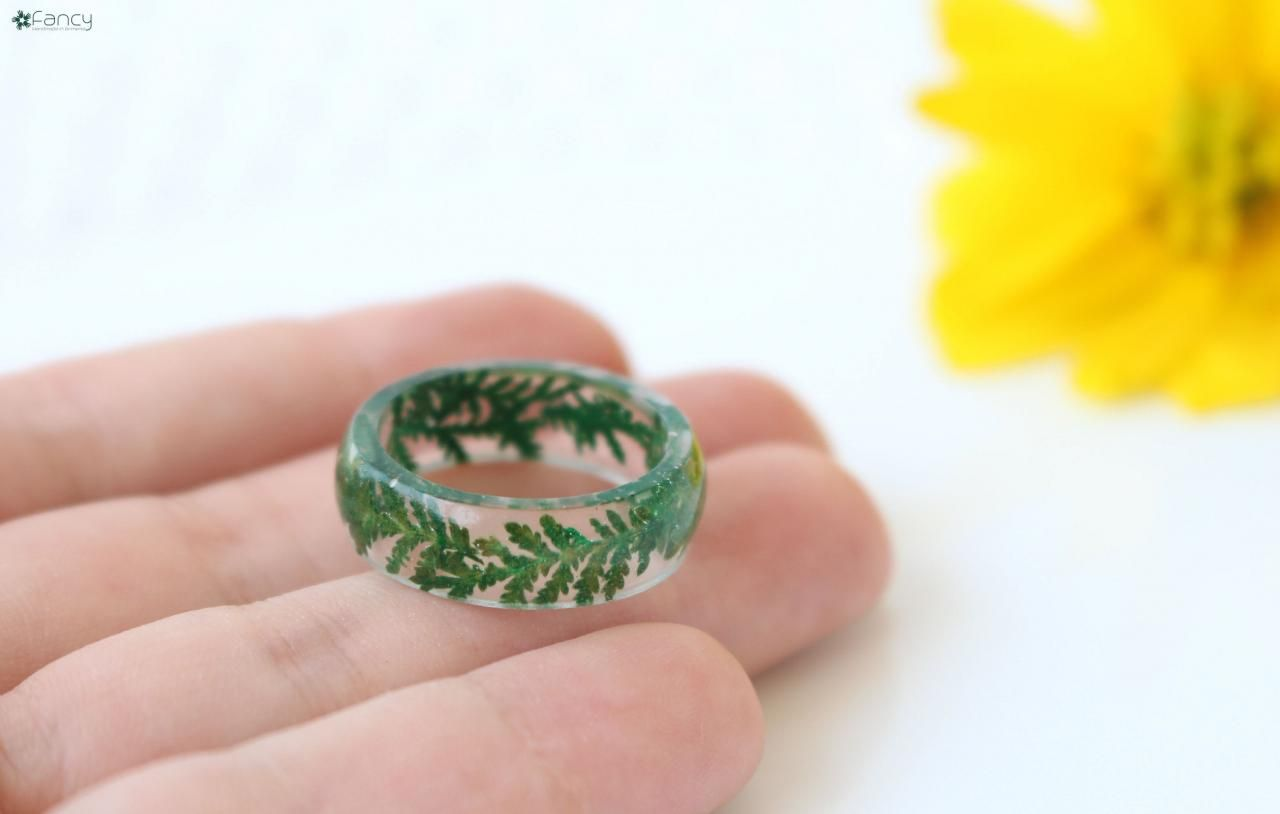 adjustable.Fern handcrafted ring Fern jewelry. Ring with fern in resin.Fern ring