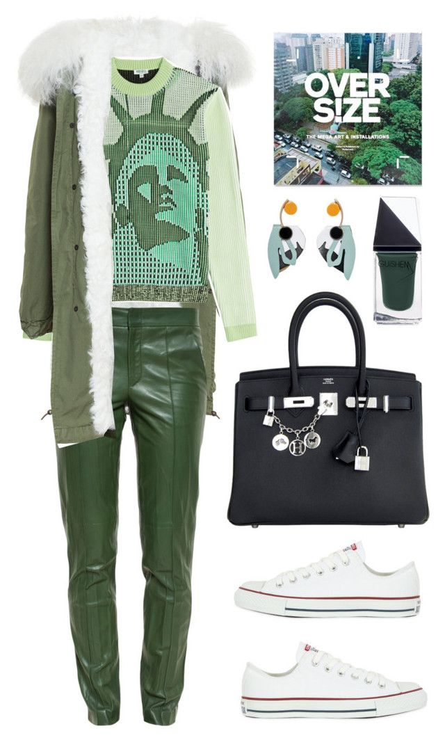 """""""Mr & Mrs Italy Long Mongolian Lamb Lined Cotton Canvas Parka"""" by thestyleartisan ❤ liked on Polyvore featuring мода, Mr & Mrs Italy, Gucci, GUiSHEM, Kenzo, Marni, Converse, Hermès, Gogreen и Wintertospring"""