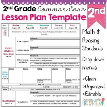 2nd Grade Common Core Lesson Plan Template Lesson Plan Templates